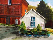 Farm Stand Drawings Posters - Farm Store Poster by John  Williams