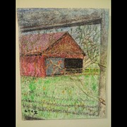 Featured Pastels - Farm Through Fence by George Hall II