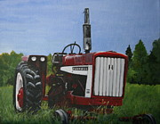 Machinery Painting Posters - Farm Tractor Poster by Betty-Anne McDonald