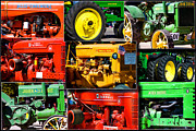 Coller Posters - Farm Tractor Collage Rectangle Poster by Thomas Woolworth