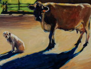 Yellow Labrador Retriever Paintings - Farm Visit by Molly Poole
