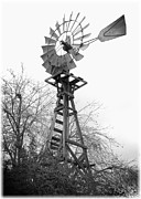 Old Farms Prints - Farm Windmill - Black and White Print by Carol Groenen