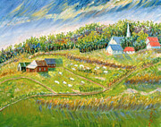 Farm With Sheep Print by Patricia Eyre