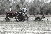 Historic Vehicle Photo Originals - Farmall Super C Plowing by Danny Jones