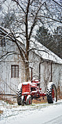Farmall Tractor In Winter Print by Timothy Flanigan