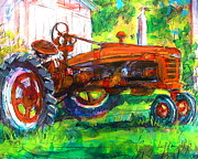 Machinery Painting Originals - Farmall Tractor by Les Leffingwell
