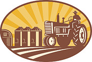 Agriculture Digital Art - Farmer Driving Vintage Tractor Retro Woodcut by Aloysius Patrimonio