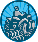 Worker Framed Prints - Farmer Plowing With Tractor Retro Framed Print by Aloysius Patrimonio