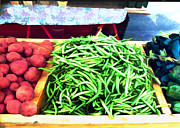 Green Beans Paintings - Farmer Salad Bar by Elaine Plesser