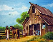 Animals Drawings - Farmer Scene by Carol Hart