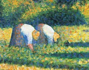 Neo Impressionism Framed Prints - Farmers at work Framed Print by Georges Seurat