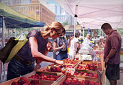 Peaches Painting Prints - Farmers Market Print by Isabella Kung
