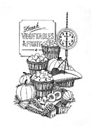Baskets Drawings Framed Prints - Farmers Market Framed Print by J W Kelly