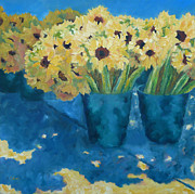 Impressionistic Market Painting Prints - Farmers Market Sunflowers Print by Carolyn Jarvis