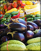 City Scapes Greeting Cards Prints - Farmers Market Vegetables Print by Carol Toepke