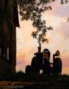 Barns Digital Art - Farmers Sunset by Kristie  Bonnewell