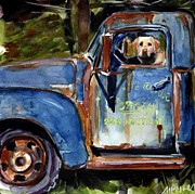 Yellow Dog And Truck Posters - Farmhand Poster by Molly Poole