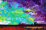Prairie Sunset Paintings - Farmhouse at Sunset by Tristan Berlund
