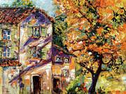 Ginette Fine Art LLC Ginette Callaway - Farmhouse Autumn Tree and Afternoon Sun