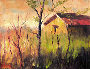Tuscan Sunset Painting Originals - Farmhouse in the Hay Florence Italy by Christopher Clark