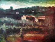 Tuscan Sunset Painting Originals - Farmhouse on the Hill Florence Italy by Christopher Clark
