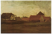 Twilight Drawings Prints - Farmhouses in Loosduinen near the Hague at Twilight Print by Vincent van Gogh