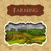Farm Scenes Prints - Farming and country life button Print by Mike Savad