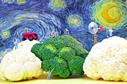 Harvest Art Prints - Farming on broccoli and cauliflower under starry night Print by Paul Ge