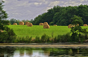 Bales Digital Art Posters - Farming Reflection Poster by Brian Mollenkopf