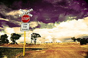 Stop Sign Prints - Farmland HDR Print by Phill Petrovic
