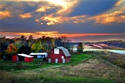 Autumn Scenes Posters - Farmstead at Sunset Poster by Julie Dant