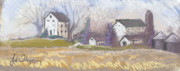 Illinois Pastels Posters - Farmstead on Wollie Poster by Jane Wilcoxson
