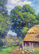 Woods; Shadows; Trees Paintings - Farmyard with Poultry by Gabriel Edouard Thurner