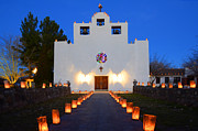Farolitos Saint Francis De Paula Mission Print by Bob Christopher