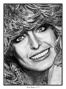 Star Drawings Framed Prints - Farrah Fawcett in 1976 Framed Print by J McCombie
