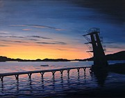 Farsund Paintings - Farsund Badehuset at Sunrise by Janet King