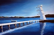 Farsund Seascape Posters - Farsund Badehuset on a sunny day Poster by Janet King