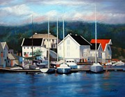 Boats In Reflecting Water Framed Prints - Farsund Dock Scene Painting Framed Print by Janet King