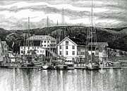 Boats In Water Drawings Framed Prints - Farsund Dock Scene Pen and Ink Framed Print by Janet King