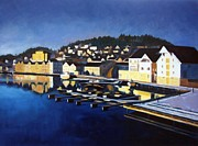 Boats In Reflecting Water Framed Prints - Farsund in Winter Framed Print by Janet King