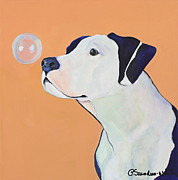 Pat Saunders-white Dog Paintings - Fascination by Pat Saunders-White