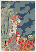 Holding Flower Framed Prints - Fashion at its Highest Framed Print by Georges Barbier