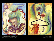 Rosyhall Prints - Fashion Designing Diptych Print by Rosy Hall