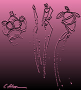 Panel Drawings Metal Prints - Fashion Graffiti.  Metalic Pink with Black Metal Print by Cathy Peterson