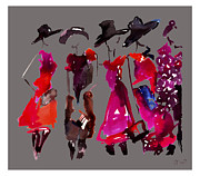 Editorial Painting Framed Prints - Fashion Illustration Art Print Giorgio Armani Fall 2012 Framed Print by Jennifer Purcell
