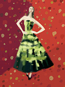 Fashion Art For Sale Posters - Fashion Illustration Art Print Green and Black Gown Poster by Beverly Brown Prints