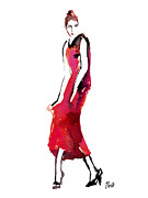 Editorial Painting Framed Prints - Fashion Illustration Art Print Vogue Keep In Touch Framed Print by Jennifer Purcell