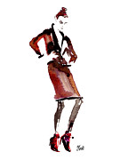 Editorial Painting Framed Prints - Fashion Illustration Art Print Vogue On Edge Framed Print by Jennifer Purcell