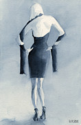 Noir Paintings - Fashion Illustration Art Print Woman in Blue Dress Back by Beverly Brown Prints