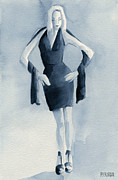 Blue Dress Paintings - Fashion Illustration Art Print Woman in Blue Dress Front by Beverly Brown Prints